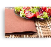 Foodstyle background closeup view of a plate with fresh salad Canvas Print