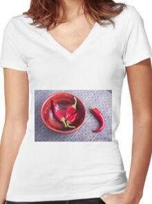 Fruits chilli hot red pepper Women's Fitted V-Neck T-Shirt