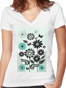 Cute flowers, leaves, butterflies and stripes Women's Fitted V-Neck T-Shirt