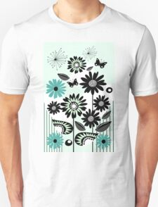 Cute flowers, leaves, butterflies and stripes Unisex T-Shirt