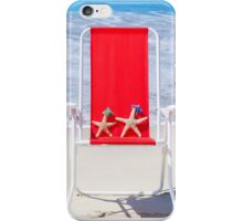 Beach chair with starfishes by the ocean iPhone Case/Skin