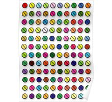 Multi-coloured Pills Pattern Poster