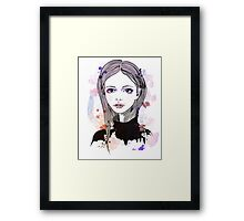 Girl with pink hair Framed Print