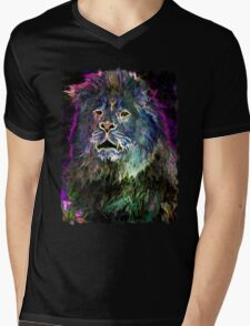 The Glowing Lion Mens V-Neck T-Shirt