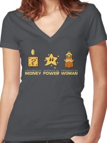 Mario Bros. Scarface - Money Power Woman Women's Fitted V-Neck T-Shirt