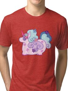 Fat Flowery Rainbow Unicorn Tri-blend T-Shirt