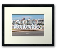 Montevideo Letters at Pocitos Beach Framed Print