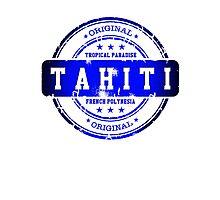 TAHITI Blue Stamp Photographic Print