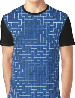 White Tetris Pattern Graphic T-Shirt