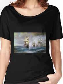 Aivasovsky Ivan - Brig Mercury Attacked By Two Turkish Ships 1892 Women's Relaxed Fit T-Shirt