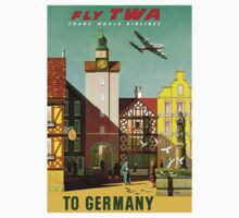 """TWA AIRLINES"" Fly to Germany Advertising Print Baby Tee"
