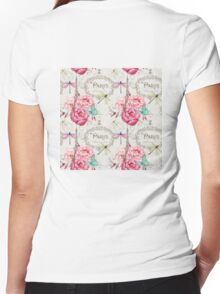 Paris Flower Market repeating pattern Women's Fitted V-Neck T-Shirt
