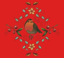 Autumn Robin Pattern Kids Tee