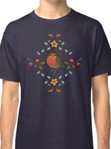 Autumn Robin Pattern Classic T-Shirt