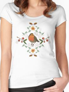 Autumn Robin Pattern Women's Fitted Scoop T-Shirt