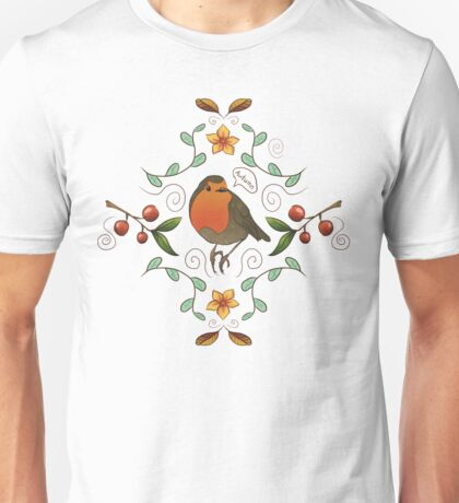 Autumn Robin Pattern Unisex T-Shirt