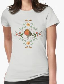 Autumn Robin Pattern Womens Fitted T-Shirt
