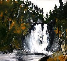 Canada Waterfall Nova Scotia Acrylics On Paper by JamesPeart