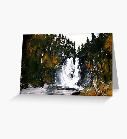 Canada Waterfall Nova Scotia Acrylics On Paper Greeting Card