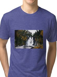 Canada Waterfall Nova Scotia Acrylics On Paper Tri-blend T-Shirt