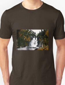 Canada Waterfall Nova Scotia Acrylics On Paper T-Shirt