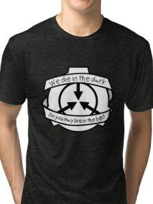 Die in the dark: Black and White Tri-blend T-Shirt