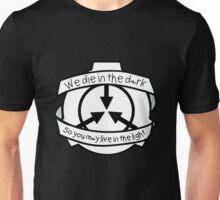Die in the dark: Black and White Unisex T-Shirt