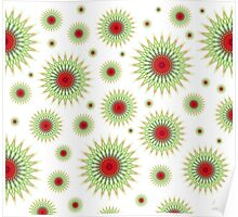 Mandala pattern in green and red Poster
