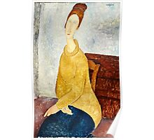 Amedeo Modigliani - Jeanne Hebuterne With Yellow Sweater (Le Sweater Jaune)  Poster