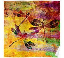 Mauritius Vintage Dragonflies Colours Poster