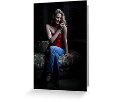Sexy Blond Sitting Greeting Card