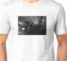 Lucky Black Cat Yellow Eyes Unisex T-Shirt
