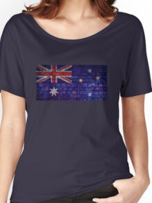 Australia flag on vintage brick wall Women's Relaxed Fit T-Shirt