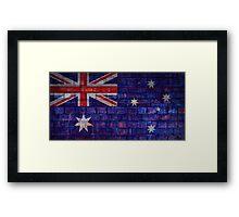 Australia flag on vintage brick wall Framed Print