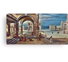 High Quality Restored Hendrick van Steenwyck the Younger - The Courtyard of a Renaissance Palace by LarcenIII Canvas Print