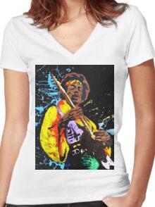 Jimi Hendrix Women's Fitted V-Neck T-Shirt