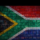 South Africa Flag painted on brick wall by E ROS