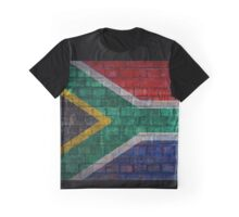 South Africa Flag painted on brick wall Graphic T-Shirt