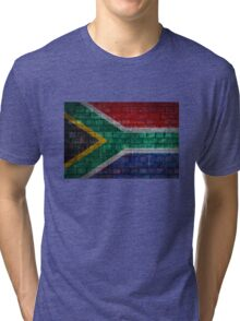 South Africa Flag painted on brick wall Tri-blend T-Shirt