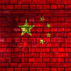 China vintage flag painted on a red brick wall by E ROS