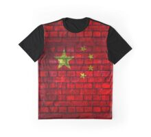 China vintage flag painted on a red brick wall Graphic T-Shirt