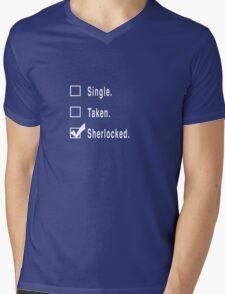 Single. Taken. Sherlocked. Mens V-Neck T-Shirt
