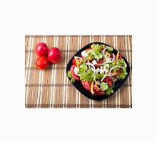 Top view on a healthy and natural vegetable salad with tomato, cucumber, olives Unisex T-Shirt