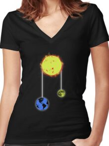 space pulley Women's Fitted V-Neck T-Shirt