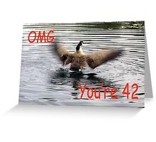 Happy 42nd Birthday Goose flapping Greeting Card