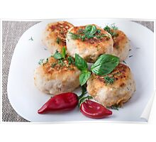 Rissole of minced chicken on a white plate with red pepper Poster