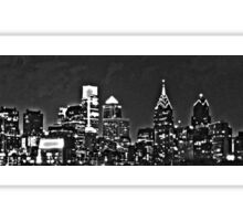 Philadelphia Skyline Panorama - Monochrome Sticker