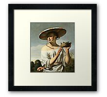 Cesar Van Everdingen - Young Woman With A Large Hat  Framed Print