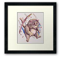 GREY NINJA CAT Framed Print