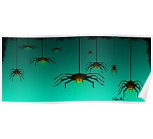 Halloween Spiders falling from their webs at dusk. Poster